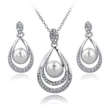 SHIP BY USPS: Long Way Gold/Silver Plated Water-drop Pendant Necklace Dangle Earrings Set Wedding Jewelry For Women