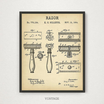 Razor Patent Printable, Barber Shop Decor, 4 Color Variations, Vintage Razor Wall Art, Barber Art Print, Barber Gift, Barber Poster Download