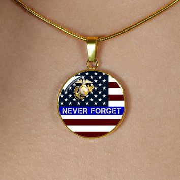 Thin Blue Line Quality Personalized Jewelry- U.S. Marine Necklace