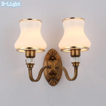 Modern Style Retro Wall Lamps Bedroom Vintage Stair Wall Lights E27 LED Bulb Lighting Wall Decor Corridor Bronze + White Glass