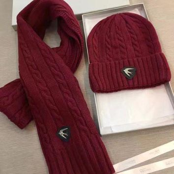 VONE7Y2 Alexander McQueen Fashion Beanies Knit Winter Hat Cap Scarf Scarves Set Two-Piece-2