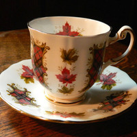Royal Adderley Maple Leaf Tartan Tea Cup and Saucer - Marked Ridgeway Potteries LTD