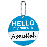 Abdullah Hello My Name Is Round ID Card Luggage Tag