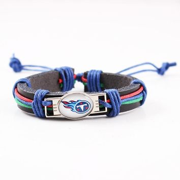 Tennessee Titans Logo Adjustable Genuine Leather Bracelet for Men Women Fashion USA Football Charm Leather Cuff Jewelry 6pcs/lot