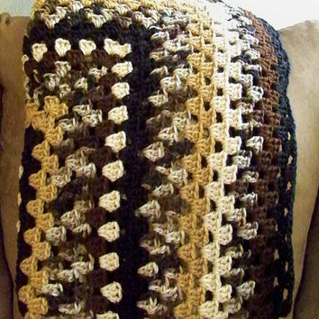 Brown Camo Crochet Large Granny Square Afghan, Camouflage Yarn, Tan, Black, Gift for Dad, Lap Blanket, Ready to Ship
