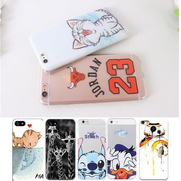 Cute Cartoon Cat Animal Stich Case For iPhone 6 6S 5 5S SE 7 7 Plus Transparent Silicone Phone Back Cover For iPhone 6 6S 5 5S 7