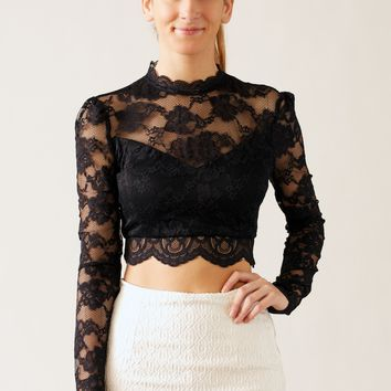 Zippered Lace Crop Top