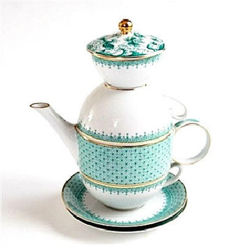 Mottahedeh Green Lace Tea for Two