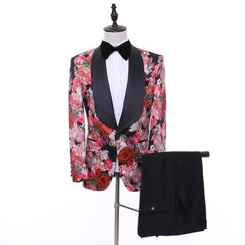 Brand New Jacquard men's suits Groomsmen Shawl Lapel Groom Tuxedos  Men Suits Wedding Best Man Blazer (Jacket+Pants+Tie