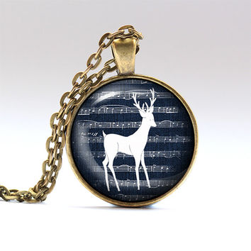 Deer charm Reindeer necklace Animal pendant RO1566