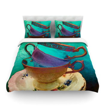 "alyZen Moonshadow ""Mad Hatters T-Party I"" Turquoise Featherweight Duvet Cover"