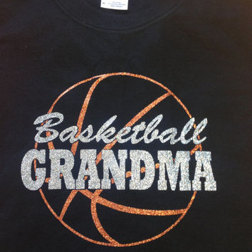 Sparkly BASKETBALL GRANDMA sparkly glitter tee shirt, choose from 3 different shirts