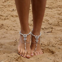 New Fashion Hand Made Boho Artificial Pearl Anklet Barefoot Jewelry Foot Chain Sandel for Women
