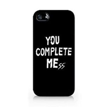 You Complete Me - You Complete Mess - BLACK - iPhone 4/4S - Hard Plastic Phone Case - Black Phone Case