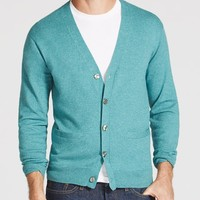 Cotton Cashmere Cardigan - Heather Green
