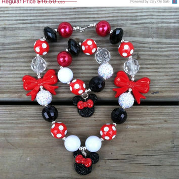 Christmas Sale Minnie Mouse Red Polka Dot Bow Inspired Chunky Bubblegum Necklace Set