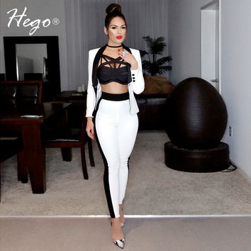 Hego 2016 New Fashion White Formal Pant Suits Set For Women Double Breasted With Pockets Hot Sale