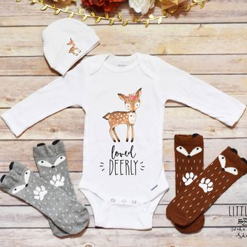 Deer Outfit, Baby Girl Clothes, Loved Deerly