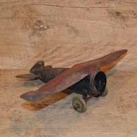 Vintage Metal Airplane, Plane Decor, Man Cave, Airplanes, Rustic, Airplane Toy