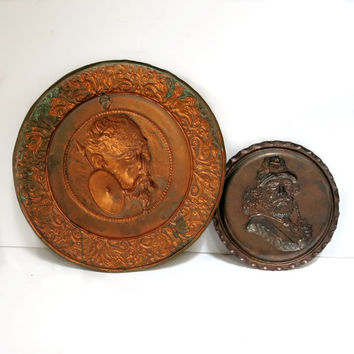 Copper Wall Art Don Quixote & Pancho Round Plaques Vintage 1950s