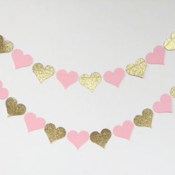 Gold Pink Heart Garland, Glitter Garland, Heart Paper, Pink Baby Shower, Nursery Decor, Girl Birthday Party Garland, Wedding Bridal Shower