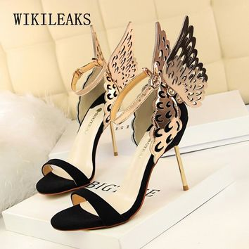 gold summer shoes women ladies sandals fetish high heels wedding party shoes woman pumps rhinestone wings sandalias mujer 2019