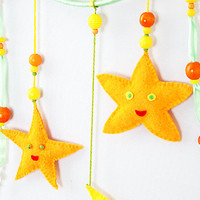 Сhildren dream catcher, Mobile Nursery Decor, Kids Room Decor, Light Green, Orange, Yellow, Felt Stars, Felt moon