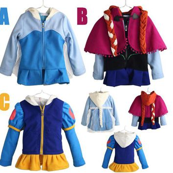New 2018 Girls Outwear Princess Cospaly Elsa Anna Child Winter Sweatshirts Casual clothing Kids Hoodies Girls Coat Clothes