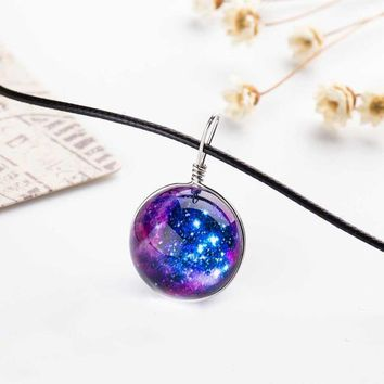 Duplex Planet Crystal Stars Ball Glass Galaxy Pattern Leather Chain Pendants Maxi Necklace Glass Galaxy Lovely Necklace