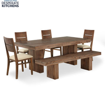 Champagne Dining Room Furniture, 6 Piece Set (Dining Table, 4 Side Chairs and 1 Bench)