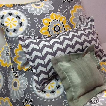 "Doll Bedding for 18"" dolls,  Comforter with three pillows,  grey and yellow flower fabric, white polka dot on yellow on back, chevron"