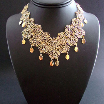 Filigree Gold Tone Bib VENDOME Necklace-Choker, Dangles, Lacy, Vintage