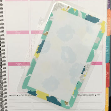 FREE SHIPPING Green Floral Watercolor To Do Laminated Dashboard Insert for Erin Condren Life Planner - clips right into coils!