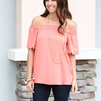 Sweetly Off The Shoulder Top - Coral