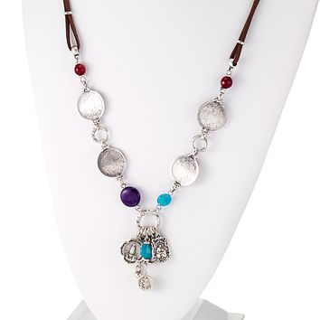 Vintage Turkish Coins Leather Necklace with Religious Charms