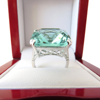 1 left - 30 Carat Vintage Aquamarine, Lattice Square Emerald Cut Filigree Ring Sizes 6 Sterling Silver, Engagement Ring, Birthstone Ring
