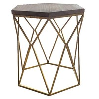 Threshold™ Metal Hexagon Table with Wood Top