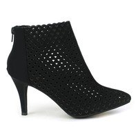 Fahrenheit Carol-01 Eye-lit High Heel Booties in Black @ ippolitan.com