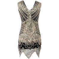 Women's V Neck 1920s Embellished Gatsby Art Deco Sequin Flapper Dress