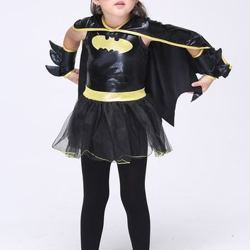 Batman Dark Knight gift Christmas Children Superhero Cos Batman Halloween Girls Cosplay Costumes Batgirl Vestido Tutu Dress Kids Carnival Party Cloak Dress AT_71_6