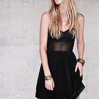 Free People Womens Mesh Tube Dress - Black