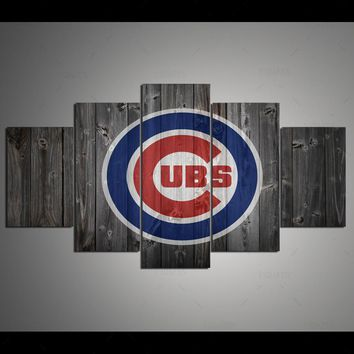 Drop Shipping HD 5 panel Canvas Art Chicago Cubs Wood Painting Home decor Poster Picture For Living Room YK-307
