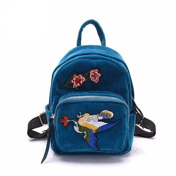 Embroidered Patch Suede Mini Backpack