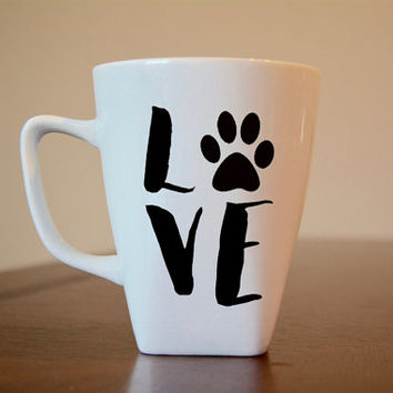 Love with Paw Coffee Mug, I Love My Pet, Pet Lovers Gift, Dog Lovers Gift, Dog Lover Coffee Mug, Animal Lover Gift, Animal Lover Coffee Mug