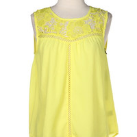 Steal My Sunshine Crochet Lace Up Top - Lemon