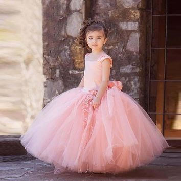 2017 Pink Tulle Flower Girl Dresses Vintage Square Neck Big Bow Sash Floor-Length Kids Pageant Party Gowns First Communion Dress