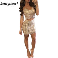 Loneyshow Sequin Dress 2017 Summer V Neck Spaghetti Strap Women Office Dresses Sexy Party Night Club Bandage Bodycon Dress