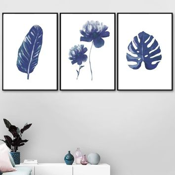 Watercolor Blue Tropical Big Leaves Nordic Plant Posters And Prints Wall Art Canvas Painting Kids Wall Pictures For Living Room