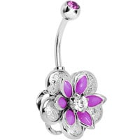 Purple Clear Gem Bursting Blossom Flower Belly Ring | Body Candy Body Jewelry