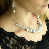 Pearl Necklace Bridal Jewelry Wedding Necklace Statement Bridal Necklace White Pearl Necklace Bridal Beaded Pearl Necklace